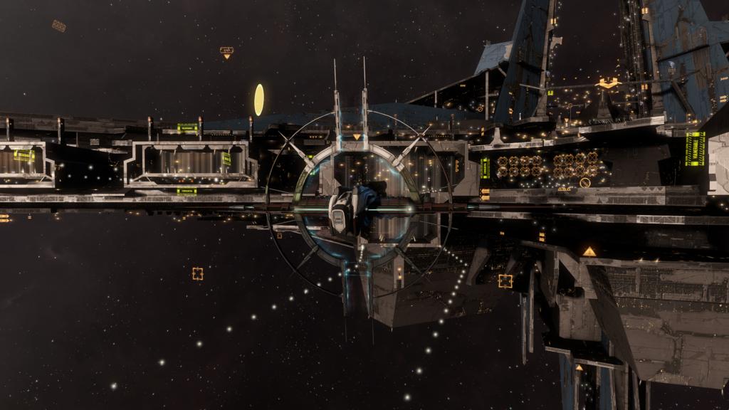 EVE Online Schlachschiff Praxis vor einer Astrahus Spielerstation