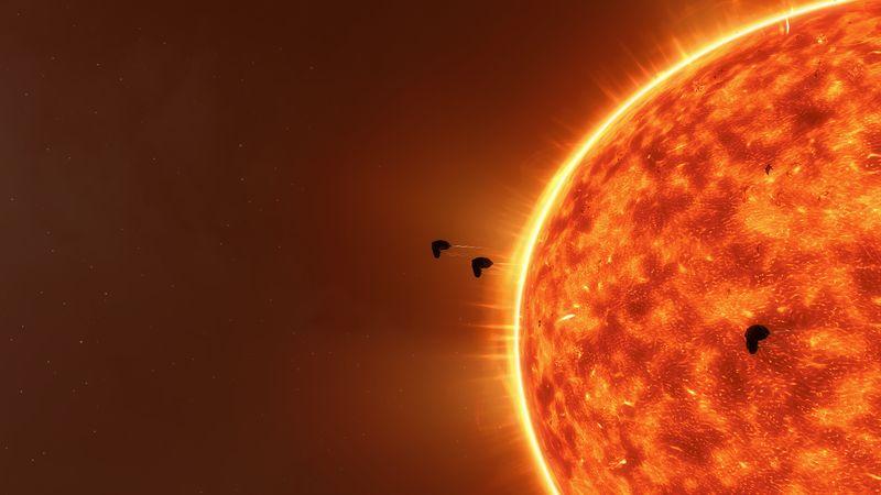 Vexor Flotte vor einer roten Sonne
