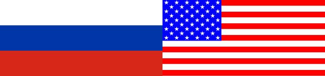 Russische und USA Flagge