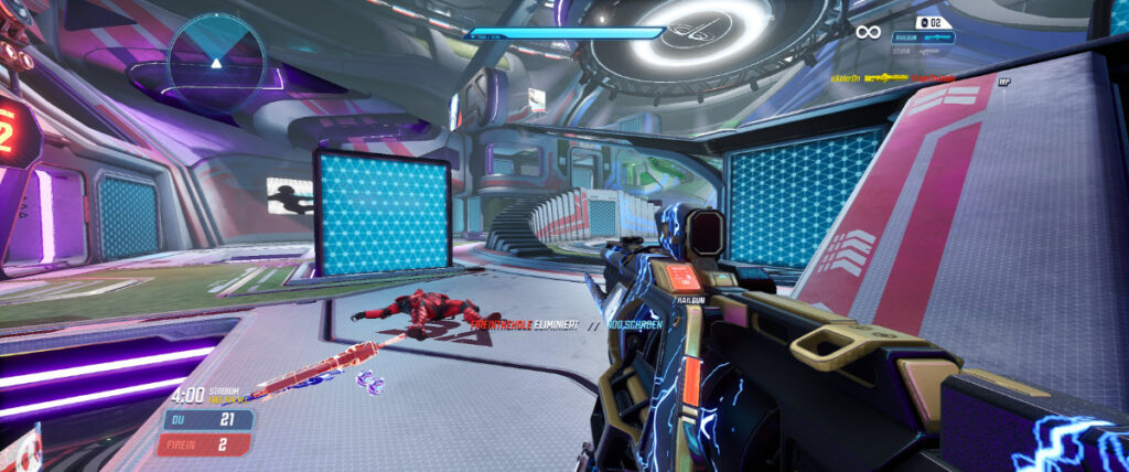 Splitgate - Map Stadium with one enemy dead on ground